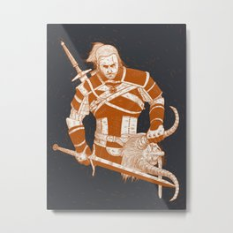A Witcher and Krampus Metal Print