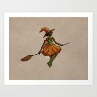 Little Witch on Paper Art Print