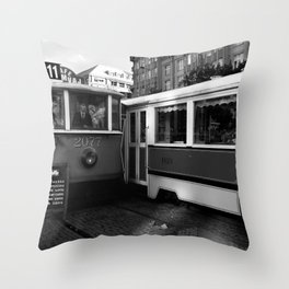 Cafe in the tram in the historical part of Prague. Throw Pillow