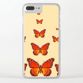 ORANGE MONARCH BUTTERFLIES CREAMY YELLOW Clear iPhone Case