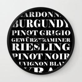 Wine Celebration - black Wall Clock