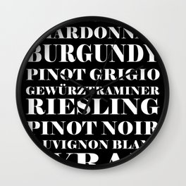 Wine Celebration - black Wall Clock