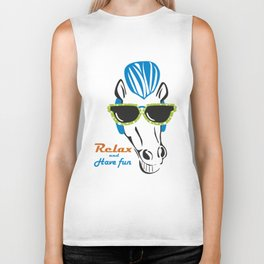 Funny Horse with Sunshades Biker Tank