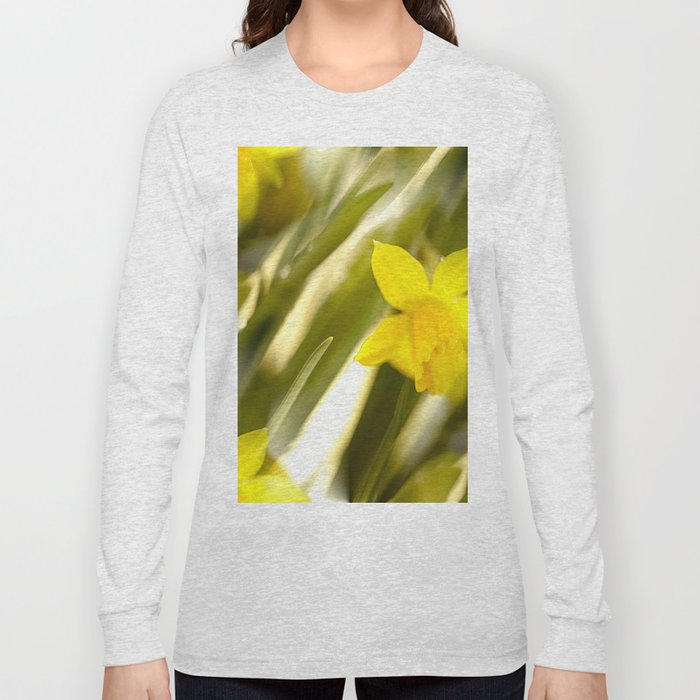 Spring atmosphere with yellow narcissus Long Sleeve T-shirt