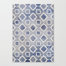 Worn & Faded Navy Denim Moroccan Pattern in grey blue & white Canvas Print