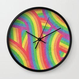 Faded Retro Rainbow Stripes Pattern Wall Clock