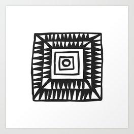 Tribal Print B&W- 02 Art Print