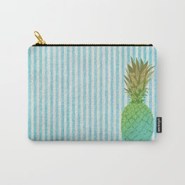 Gold and blue pineapple over blue strips Carry-All Pouch