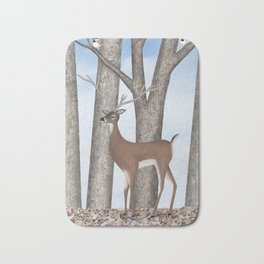 white-tailed deer & chickadees in the forest Bath Mat