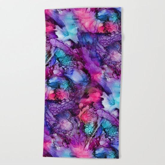 Glowing Purple Abstract Beach Towel