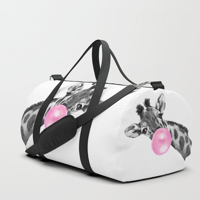 Bubble Gum Black and White Sneaky Giraffee Duffle Bag