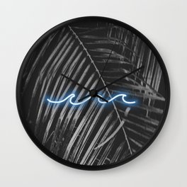 Palm Beach Neon Waves Wall Clock