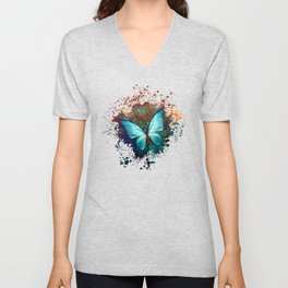 The Blue butterfly Unisex V-Neck