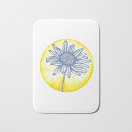 Daisy Birth Flower - April - Blue Bath Mat
