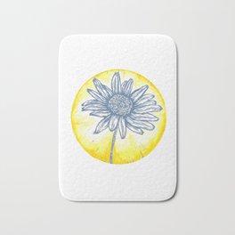 Daisy Birth Flower - April - Blue Bath Mat