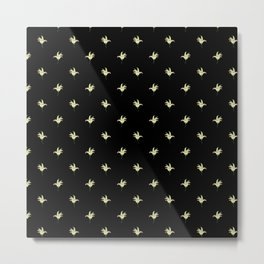 Black Vintage Lily-of-the-Valley Mini-Print Metal Print