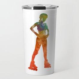 Woman in roller skates 11 in watercolor Travel Mug