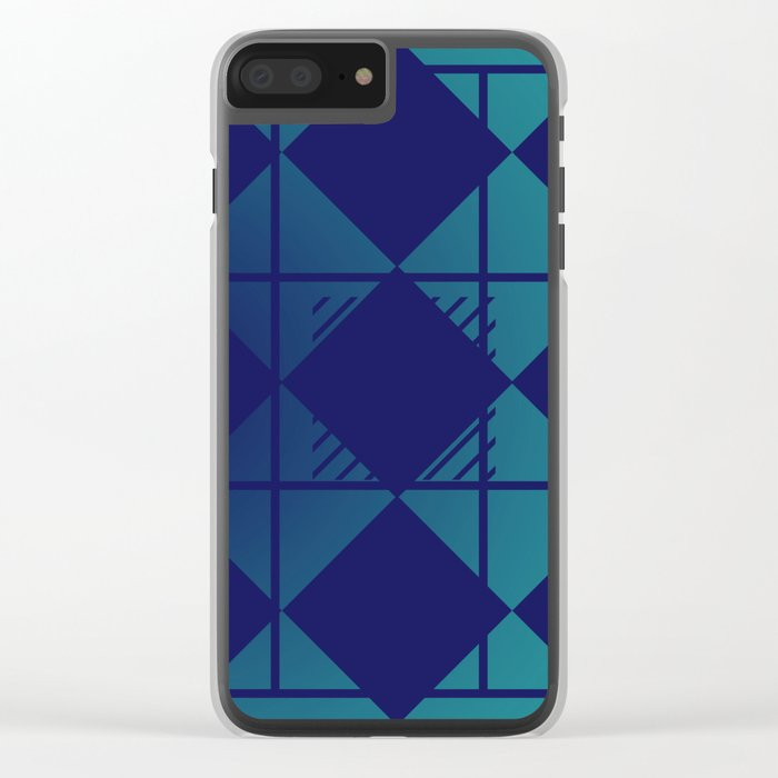 Blue,Diamond Shapes,Square Clear iPhone Case