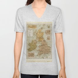 Vintage Map of Great Britain and Ireland, 1947 Unisex V-Neck