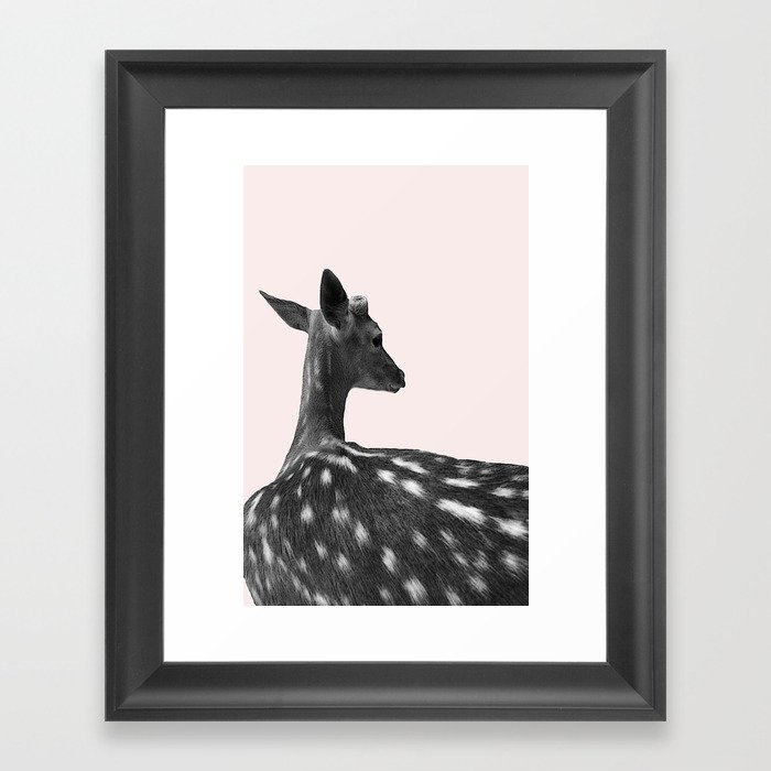 Deer on Pink Background Framed Art Print