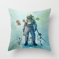 island Throw Pillows featuring Deep Sea Garden  by Terry Fan