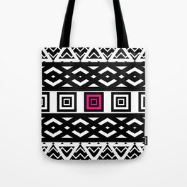 Girly Black White Abstract Geometric Pattern Pink Tote Bag