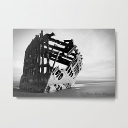 Peter Iredale Black and White Metal Print