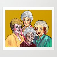 golden girls Art Prints featuring Golden Girls by Minerva Torres-Guzman