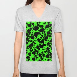 Bright Green and Black Leopard Style Paint Splash Funny Pattern Unisex V-Neck