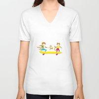 skate V-neck T-shirts featuring Skate by Matthias Leutwyler