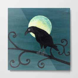 Raven and a Full Moon Metal Print