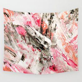 Candy Modern abstract pink salmon black grey acrylic brushstrokes painting Wall Tapestry