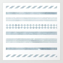 Chambray aztec stripe Art Print