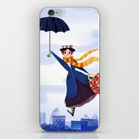 mary poppins iPhone & iPod Skins featuring Mary Poppins by giovanamedeiros