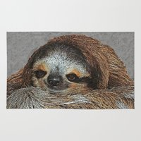 sloths Area & Throw Rugs featuring SLOTH LOVE by Catspaws