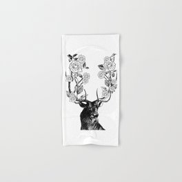 The Stag and Roses | Black and White Hand & Bath Towel