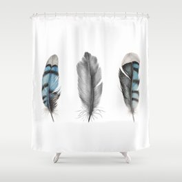 Blue Jay Feathers | Bird | Animal | Painting | Art | Animals Shower Curtain