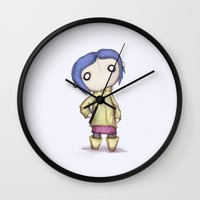 coraline Wall Clocks featuring Coraline  by Ludwig Van Bacon