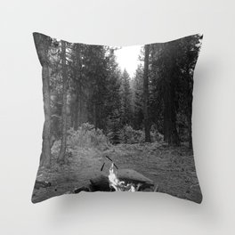Backpacking Camp Fire B&W Throw Pillow