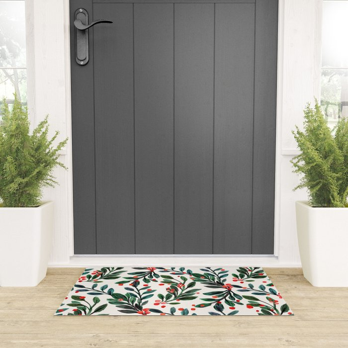 Mistletoe and Red Berries Welcome Mat