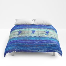 Rustic Navy Blue Coastal Decor Seahorses Comforters