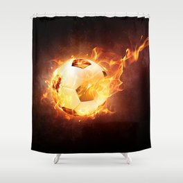 Fire Football Shower Curtain