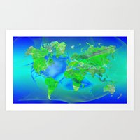 map of the world Art Prints featuring World Map by Roger Wedegis