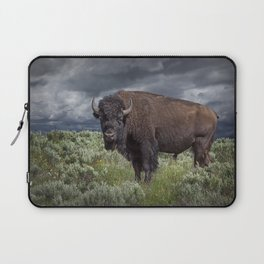 American Buffalo Bison in Yellowstone National Park Laptop Sleeve