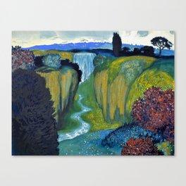 Floral Garden Landscape with Waterfall by Franz von Stuck Canvas Print