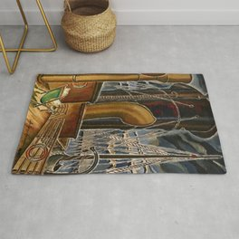 Trans-Atlantic Journey; Taking in the Morning Sights Deck-side nautical WPA landscape painting  Rug