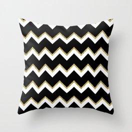 Black Gold White Chevron Pattern Throw Pillow