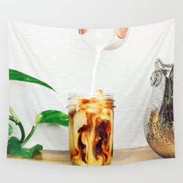 Coffee & Cream // Slow Milky Pour Over Cold Brew Caffeine in Mason Jar Plants & Owl Picture Wall Tapestry