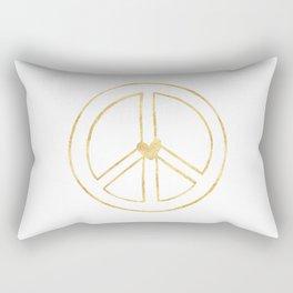 Gold Heart Peace Sign Rectangular Pillow