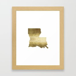 louisiana gold foil state map Framed Art Print